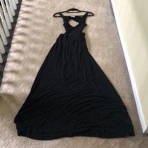 Tobi Black cotton Cut our maxi dress